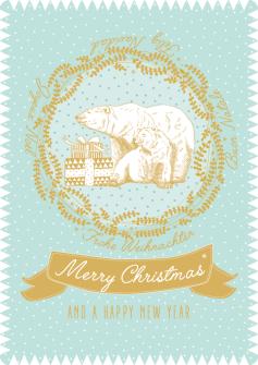 Postkarte Eisbär mint - Merry Christmas