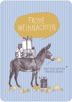Postkarte Esel Streifen grau - Frohe Weihnachten