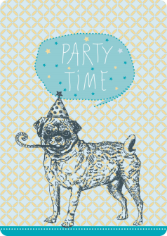 Postkarte Mops Party Time