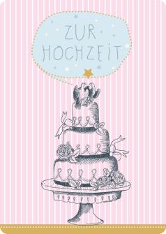 Postkarte Torten mit Tauben - Zur Hochzeit