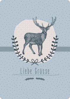 Postkarte Rothirsch - Liebe Grüsse