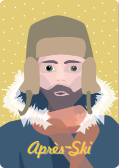 Postkarte Apres Ski Mann