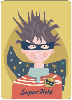 Postkarte Superheld Boy