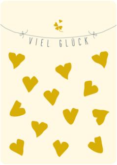 Postkarte Viel Glück, Herzen