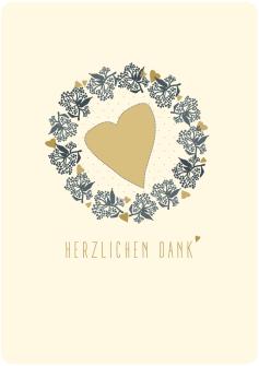 Postkarte Herz - Kranz -  Herzlichen Dank