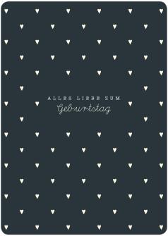Postkarte Herzen mini - Alles Liebe zum Gebrurtstag